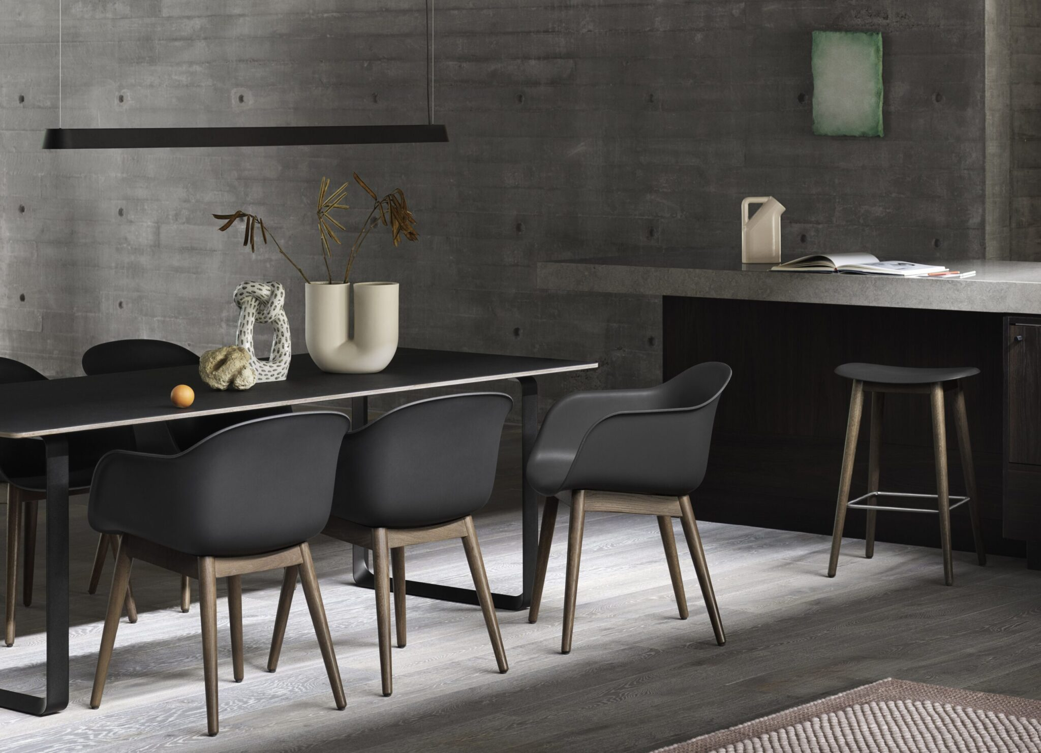 Linear-pendant-lamp-169-black-70-70-black-fiber-armchair-fiber-counter-stool-black-stained-dark-brown-V2-muuto-med-res-scaled