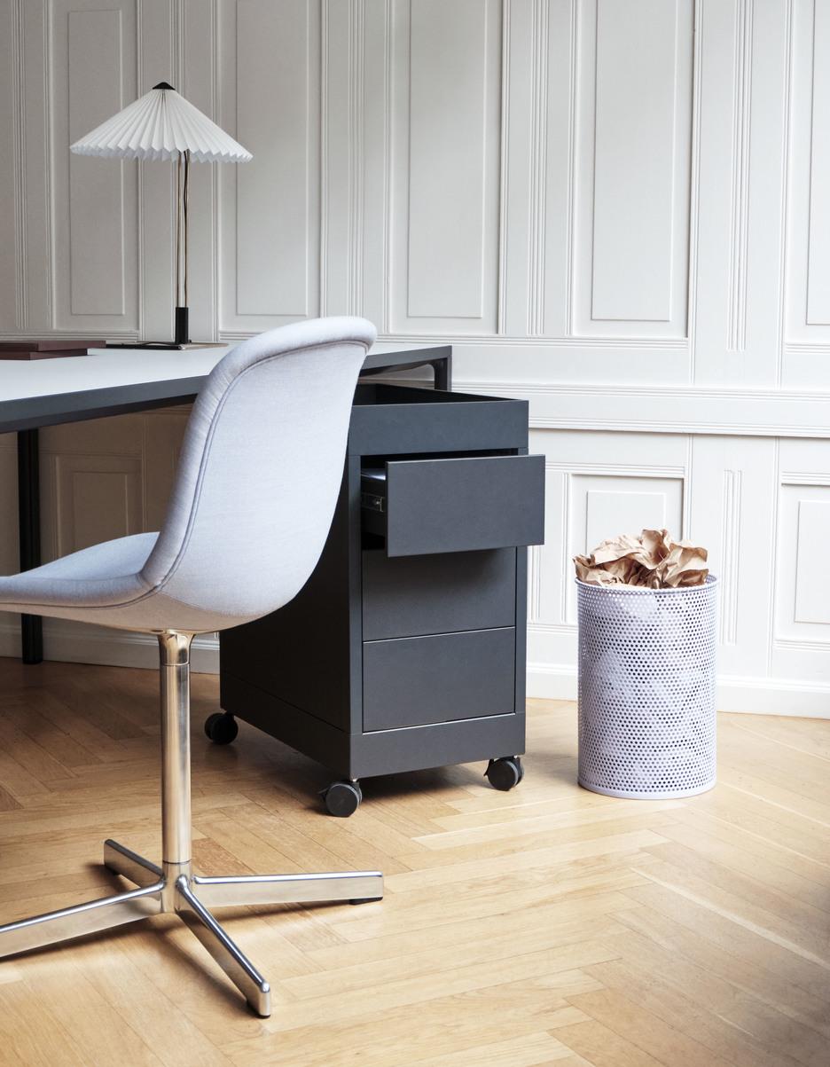 New Order Trolley B 3 drawer charcoal_Perforated Bin lavender_Matin Table Lamp white_Neu 10 Atlas 631 polished alu swivel